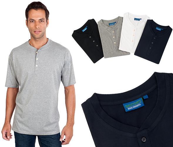 Serafino T-Shirt mit Knopfleiste Gr. L