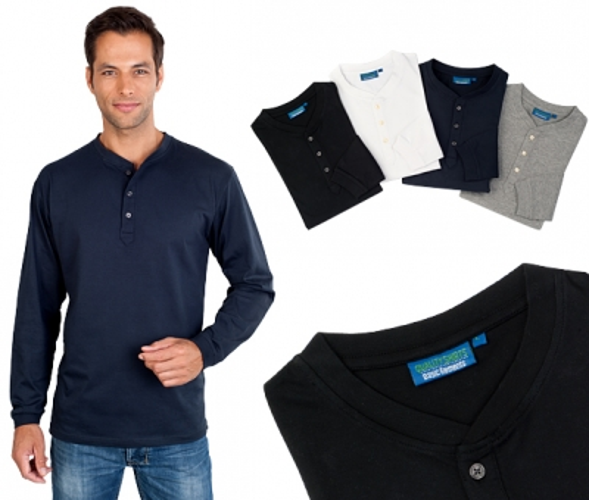 Langarm Serafino Shirt mit Knopfleiste Gr. 5XL